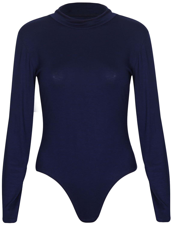 Purple Hanger Womens Turtle Neck Stud Leotard Bodysuit Tee Top