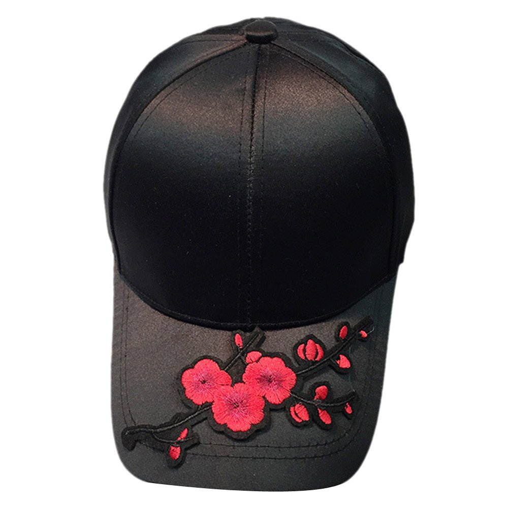 Womens Mens Couple Baseball Caps Unisex Applique Floral Embroidered Snapback Cool Hip Hop Flat Cotton Washed Hat (Black)