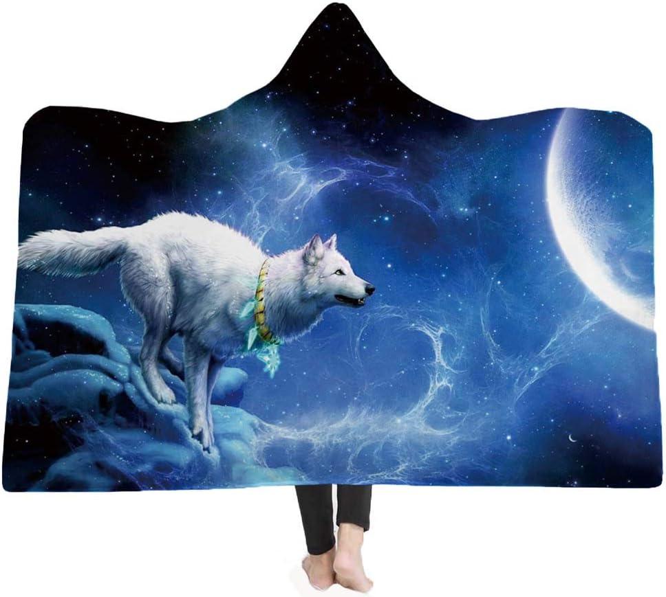 Wolf Print Hooded Blanket