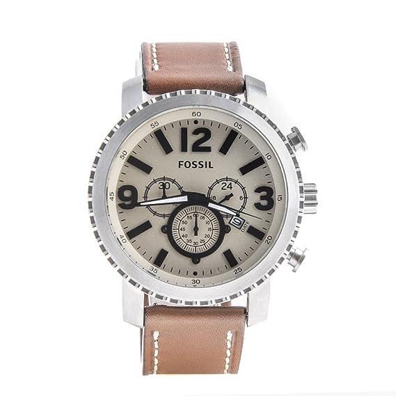 77f67672f049 Reloj de pulsera hombre FOSSIL Marrón Piel Cronógrafo Idea regalo   Amazon.es  Relojes