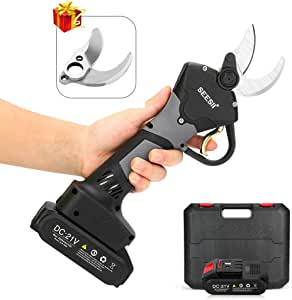 Seesii Professional Cordless Electric Pruning Shears,1.38 Inch /0.98 inch Adjustable Cutting Diameter with 2PCS Backup 21V 2Ah Lithium Battery Powered Tree Branch Pruner,Portable Case