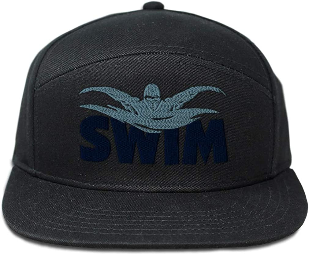 Custom Snapback Hats for Men /& Women Swim Word and Swimmer Embroidery Cotton