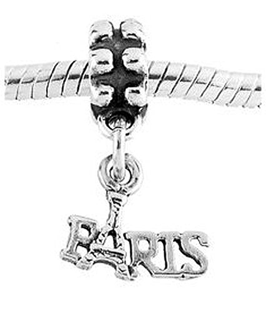 Sterling Silver Oxidized One Sided Paris with Eiffel Tower Dangle Bead Charm