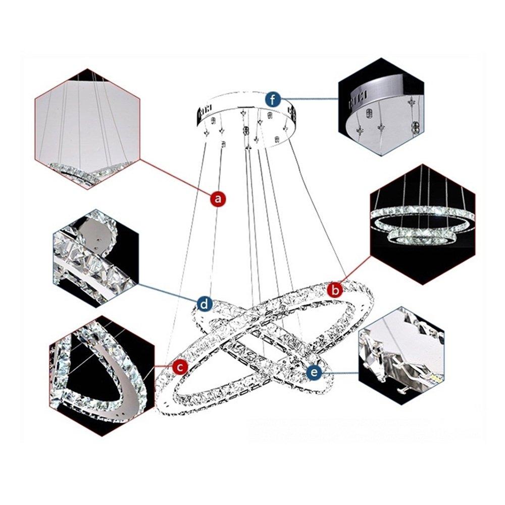 SAILUN® 48W 2 anillos Lámpara Colgante LED de Cristal Araña Moderna Lámpara Colgante Lámpara de Techo Blanco Cálido Iluminación Interior para comedor ...