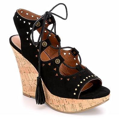 798b91892598d Eva   Zoe Womens Valencia Open Toe Wedge Shoes
