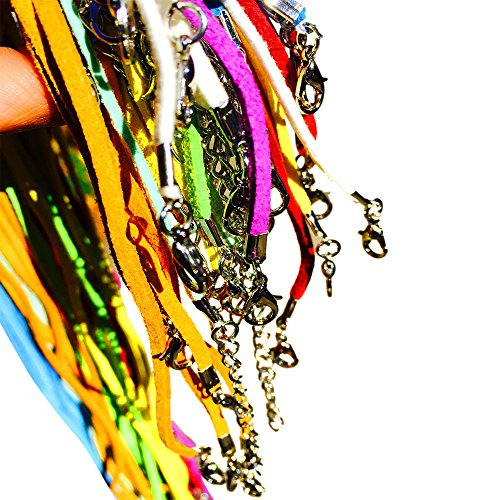 50 Color Mix Imitation Suede Leather Necklace Cord with Lobster Clasp 18in - Exact Colors As Shown