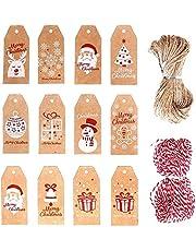 200PCS Christmas Kraft Paper Tags, Xmas Brown Kraft Gift Tags for DIY Art Crafts