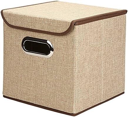 Cajas de almacenamiento grandes cubos contenedor caja de almacenamiento de tela de lino grande plegable con tapa y asas – Gris para Casa, Oficina, Nursery, ...