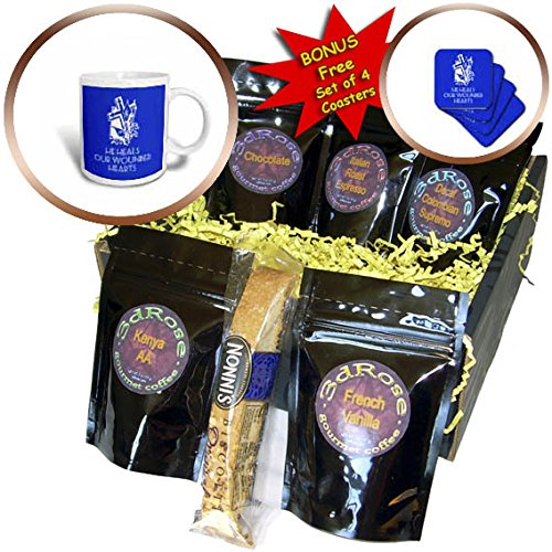 3dRose Alexis Design - Christian - Cross and flowers, the text He heals our wounded hearts on blue - Coffee Gift Baskets - Coffee Gift Basket (cgb_286185_1)