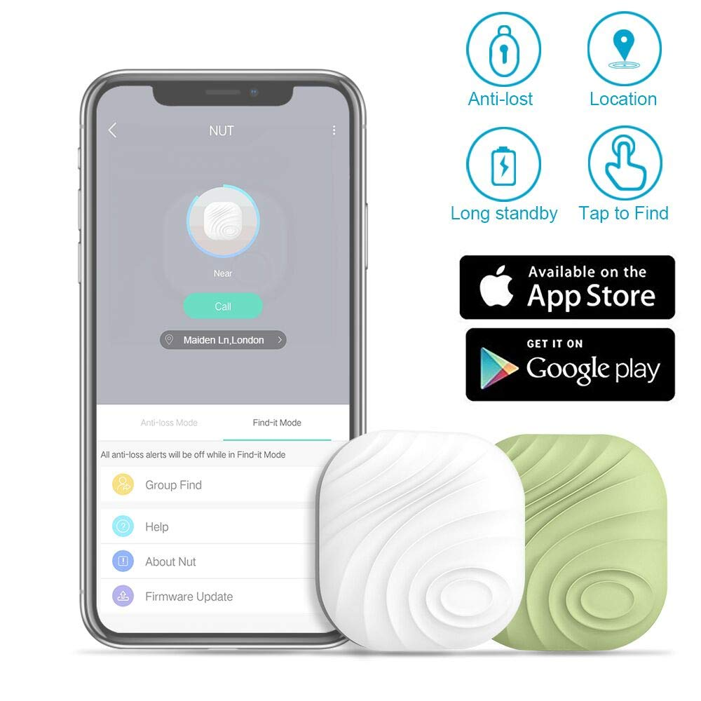 Evershop Smart Key Finder Anti-Lost Tracker Bluetooth Tracker GPS Locator Wallet Phone Key Anti-Lost Bidirectional Alarm Reminder for Phone, Pets, Keychain, Wallet,Luggage(2 Colors) by Evershop