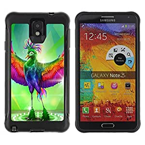 Hybrid Anti-Shock Defend Case for Samsung Galaxy Note 3 / Fabulous Colorful Bird