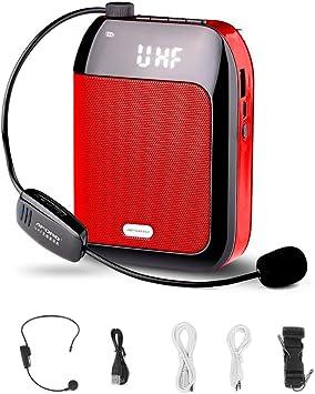 Mini Amplificador de Voz con micrófono inalámbrico y Pantalla LED, Amplificador portatil Bluetooth Altavoz para docentes / Entrenadores / guías de Turismo / Instructor de Yoga y más: Amazon.es: Electrónica