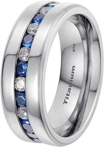 Ring Verlobung Herren Frauen Titan Schwarz Silber Stein Zirkon 4392