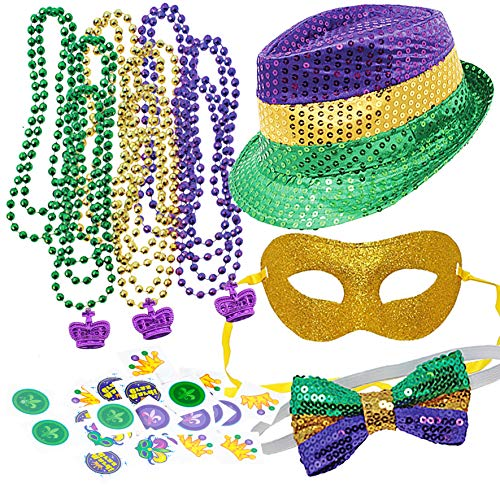 Joyin Toy Mardi Gras Accessory Set Party Favors with Beads Necklaces, Sequin Fedora Hat, Masquerade Mardi Gras Mask, Sequin Bow Tie. 24 Temporary Tattoos, 3 Pendants