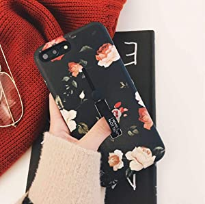 iPhone 6 Case iPhone 6s Case Finger Grip Finger Grip,3D Embossed Flowers Design Rugged Shockproof Slim Fit Dual Layer Finger Ring Loop Strap Case Finger Strap for iPhone 6/6s 4.7inch - Red Flowers