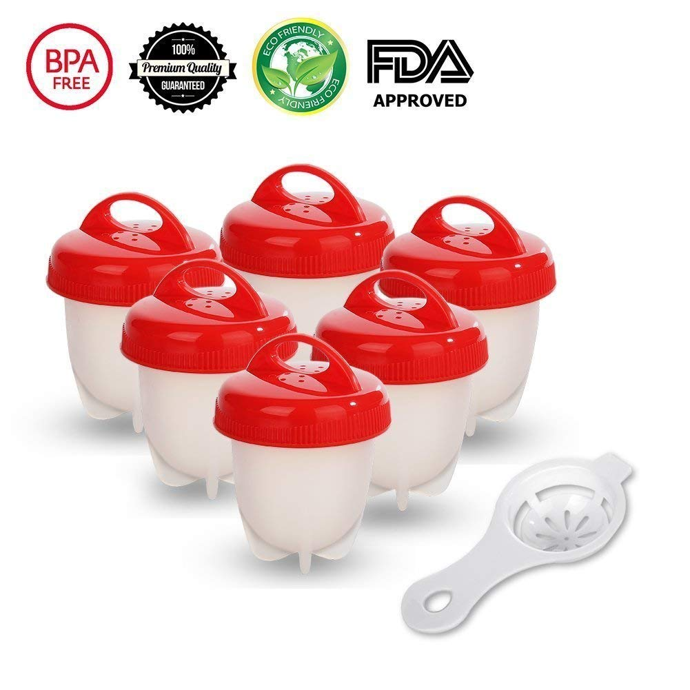 Egg Cooker Cook Hard and Soft Maker, No Shell, Non Stick Silicone, Poacher, Boiled, Steamer, AS Seen on TV,6 Pack (red)