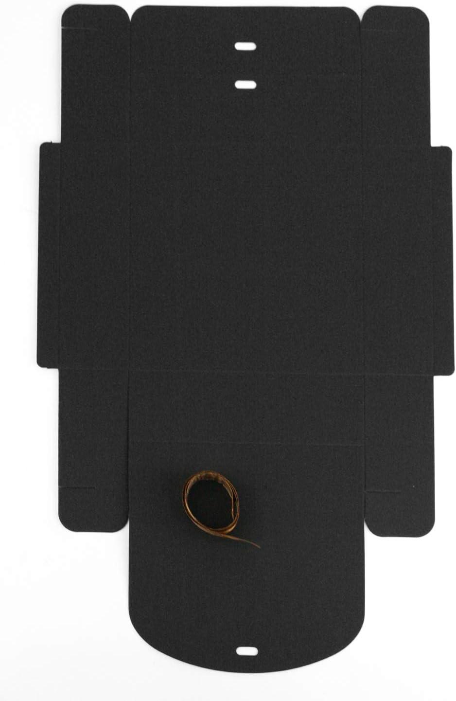 16.5 cm x 16.5 cm x 5 cm Emartbuy Paquete de 12 Caja de Regalo de Presentaci/ón en Forma Cuadrada F/ácil Montaje Caja de Kraft Negra Con Cinta de Lazo