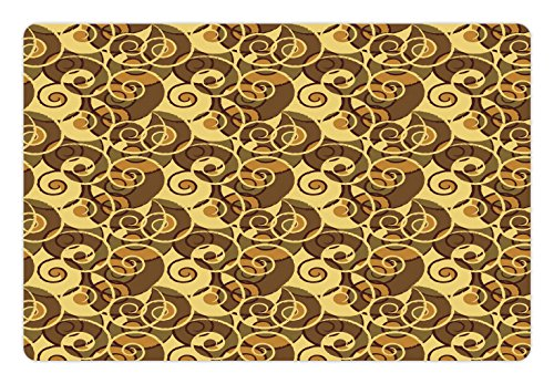 Retro Pet Mats for Food and Water by Lunarable, Vintage Classic Style Old Fashion Swirled Lines Baroque Inspired, Rectangle Non-Slip Rubber Mat for Dogs and Cats, Pale Yellow Umber Sand - Fashion Baroque Inspired