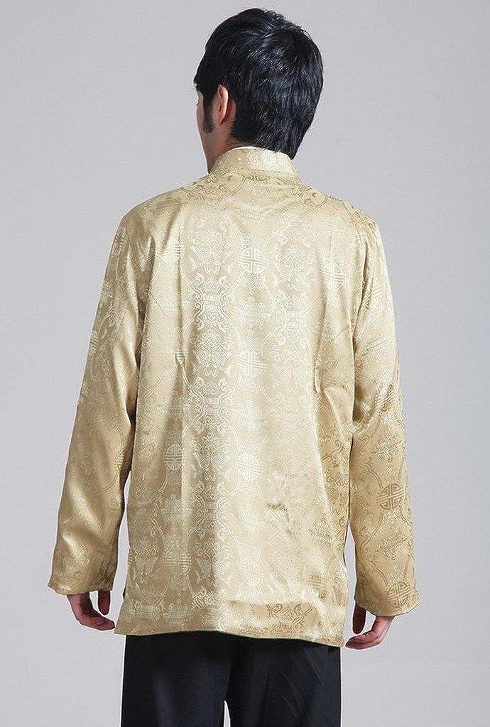 Bigood Blouson Costume Kung-fu Homme Coton Veste Manche Longue Traditionnel