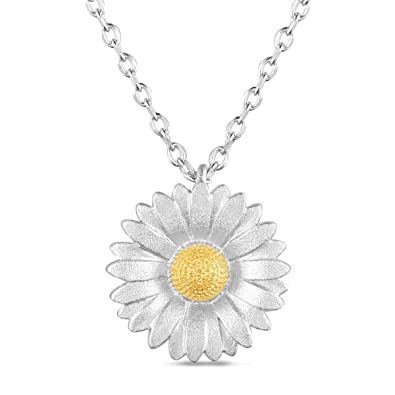 Sweetiee 925 Sterling Silver Necklace, Sunflower Pendant with Gold Plated Bud, Silver, 400mm for Woman