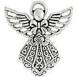 25pcs Shape Angel Tibetan Charm Size 23.5x26x3 mm Hole Size1 mm Color Antique Silver TS4214