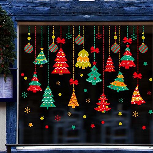 Baron W.H Decoración de Navidad Adhesivo Adhesivo de Pared de Cristal Colgante Árbol de Navidad Adhesivo Sticker