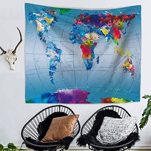 Nancy123 Tapestry Wall Hanging Colorful World Map Hippie Beach India Art Cool Bohemian Blanket Queen Size