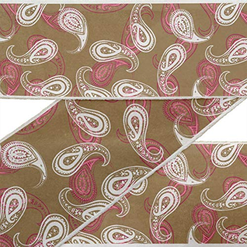 (IBA Indianbeautifulart Brown Block Paisley RibbonTrimTape Fabric Laces for Crafts Printed DupionTrimby 9 Yard Sewing Accessories 3 Inches)