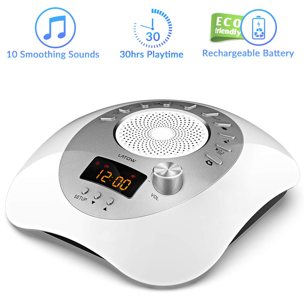 White Noise Machine, LATOW Womb Sound Machine for Baby Sleeping, Portable Sleep Therapy 10 Non-Looping Sounds for Baby Home Office & Travel, USB or Battery Charging Options, Auto-Off Timer Sound Spa by LATOW (Image #1)