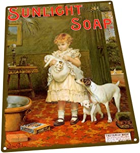 Sunlight Soap Metal Sign: Soap, Laundry, and Bathroom Decor Wall Accent