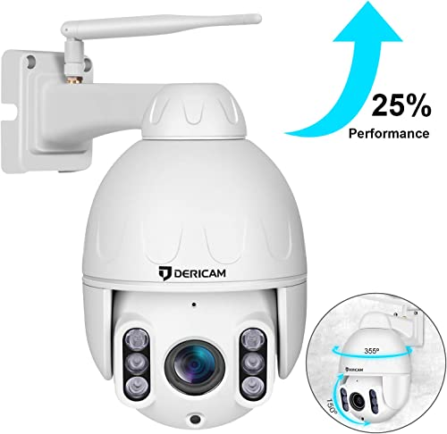 Dericam PTZ Camera Outdoor,1080P Wireless Security Camera, 4X Optical Zoom Pan Tilt Dome Surveillance Cam with Powerful 5dbi Antenne,Wide Night Vision,IP65 Weatherproof,for Backyard Shop Office.