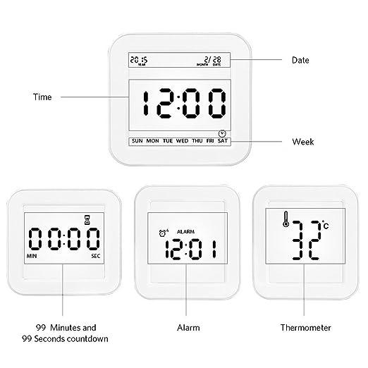 Reloj despertador digital con fecha e indicador de temperatura,alarma de sensor táctil y luz,pantalla grande con calendario y fecha,para niños y ...