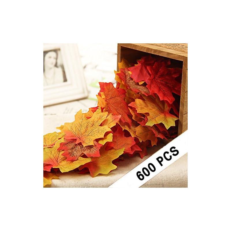 silk flower arrangements 600pcs artificial maple leaves, autumn fall leaves bulk assorted multicolor mixed garland wedding house decorations (6 colors, 100pcs per color)