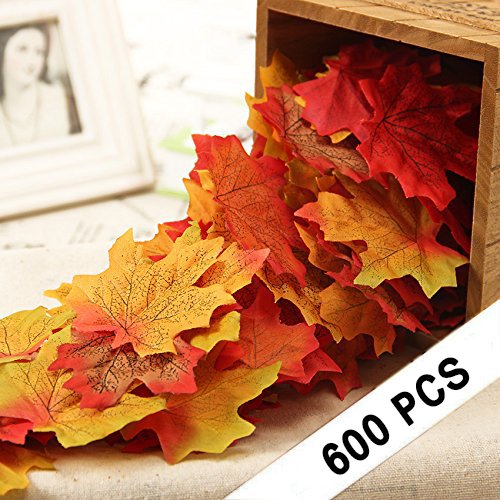 CXDY 600pcs Artificial Maple Leaves, Autumn Fall Leaves Bulk Assorted Multicolor Mixed Garland Wedding House Decorations (6 Colors, 100pcs per Color)