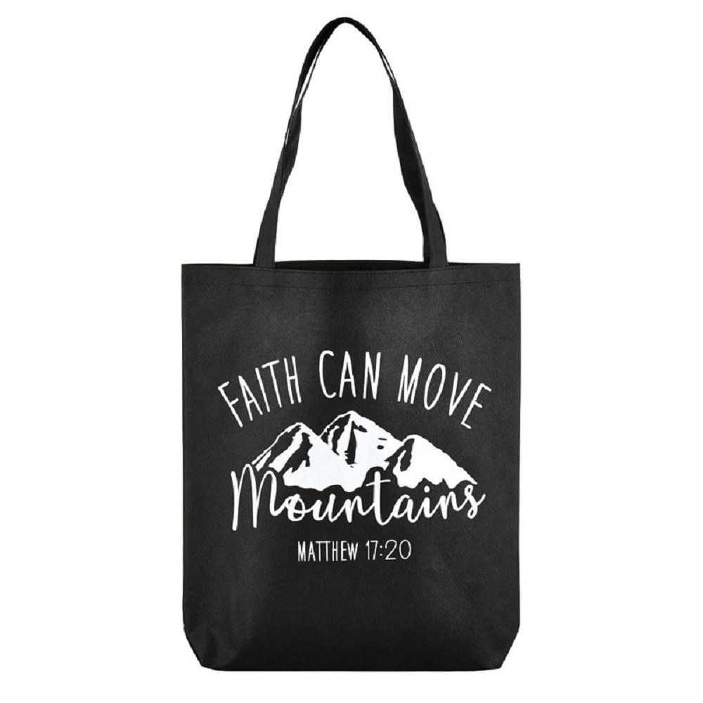 Faith Can Move Mountains Tote Bag, 14-1/2 x 16'' H with 3'' Gusset, 12 Pack.
