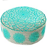 Mandala Life ART Bohemian Floor Cushion –Luxury, Artisan Room Décor Pouf for Meditation, Yoga, and Boho Chic Seating Area Floor Pillow – Accent Your Living Room, Bedroom, More – Handmade in India