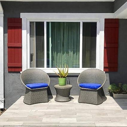 Amazon.com: LEAPTIME - Juego de 3 muebles de mimbre para ...