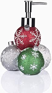GreenDisplay Multicolor Christmas Ball Soap/Lotion Dispenser (Red, Green, Silver and White Finish)