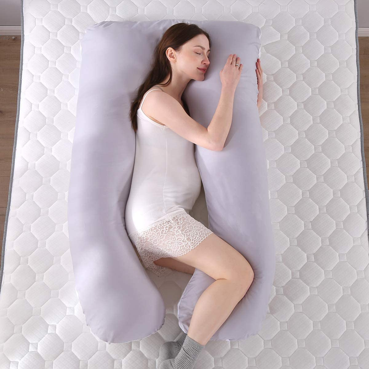 SHANNA Body Pillows for Adults Gray + White Body Pillow maternity support pillow U Shape Pregnancy Pillow with Replaceable and Washable Coverr 70 130CM