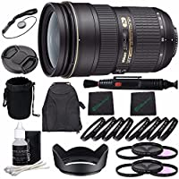 Nikon AF-S NIKKOR 24-70mm f/2.8G ED Lens + 77mm 3 Piece Filter Set (UV, CPL, FL) + 77mm +1 +2 +4 +10 Close-Up Macro Filter Set with Pouch + Lens Cap + Lens Hood + Lens Cleaning Pen Bundle