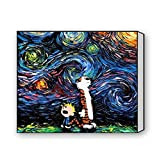 Calvin And Hobbes Starry Night Canvas Print 16 X 12 Inch, Stretched And Framed Artwork Decor Wall Living Room Office Oil Paintings Picture Canvas Print Home Decor