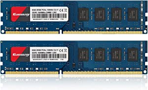 Kuesuny 16GB Kit (8GBX2) DDR3L-1600 Udimm, PC3L-12800/PC3L-12800U 8GB CL11 240 Pin 2RX8 Dual Rank Non ECC Unbuffered 1.35V/1.5V Desktop Computer Memory Ram Module Upgrade(Blue)