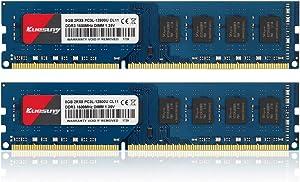 Kuesuny 16GB Kit (8GBX2) DDR3L-1600 Udimm, PC3L-12800/PC3L-12800U 8GB CL11 240 Pin 2RX8 Dual Rank Non ECC Unbuffered 1.35V/1.5V Desktop Computer Memory Ram Module Upgrade(Blue)