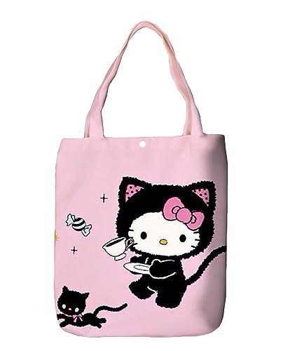3aaa75793d88 YOURNELO Girl s Canvas Cartoon Hello Kitty Shopping Bag Handbag Tote  Shoulder Bag ...