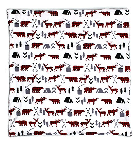 Dear Baby Gear Baby Blankets, Woodland Bear Moose Plaid, Minky Grey, No Ruffle
