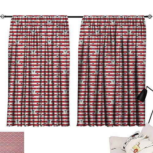 Jinguizi 4th of July Curtain for Kids Room Stripes with Stars Freedom and Liberty of The USA National Holiday Party Darkening Curtains Royal Blue Biege Red W55 x L39 by Jinguizi (Image #6)