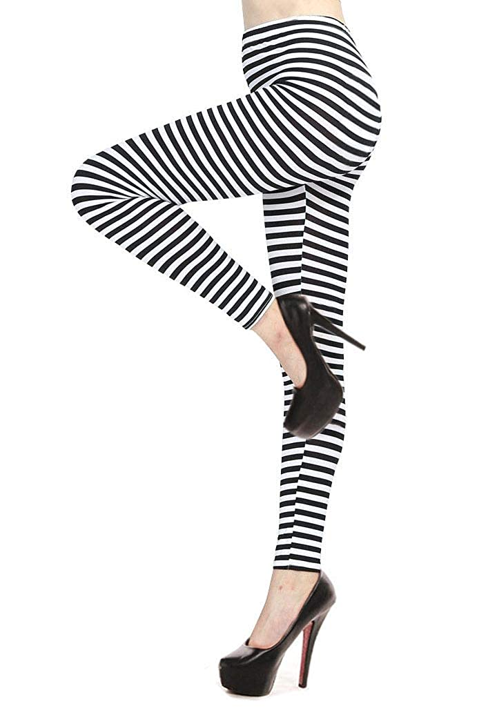 ff0659d3bf242 These striped leggings are made with soft cotton blend fabric. Black &  white horizontal or vertical stripes design. Elastic stretchy waistband  offers a ...