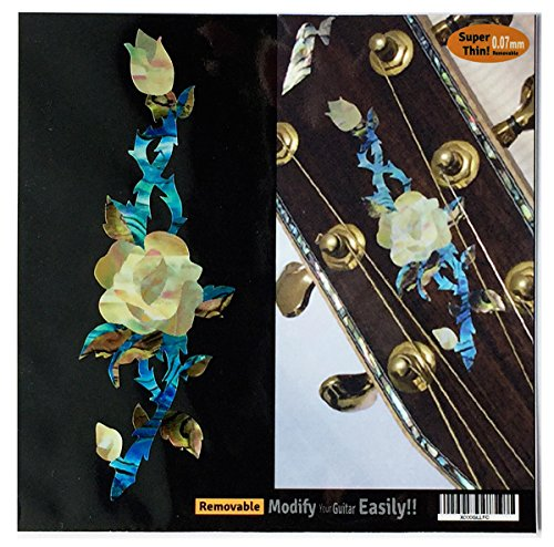 Inlay Sticker Decal Guitar Headstock In Abalone Theme - Rose Vine
