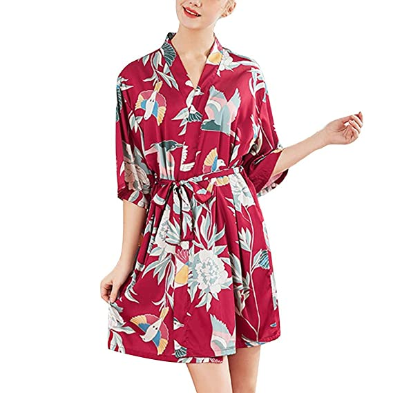 OPAKY Mujeres Simulación Seda Damas Pijamas Lencería Bata Albornoz Novia Bata Usar Inicio Kimono Mujer Batas Cortos Lenceria Lindo Casual Moda Mujeres Sexy ...