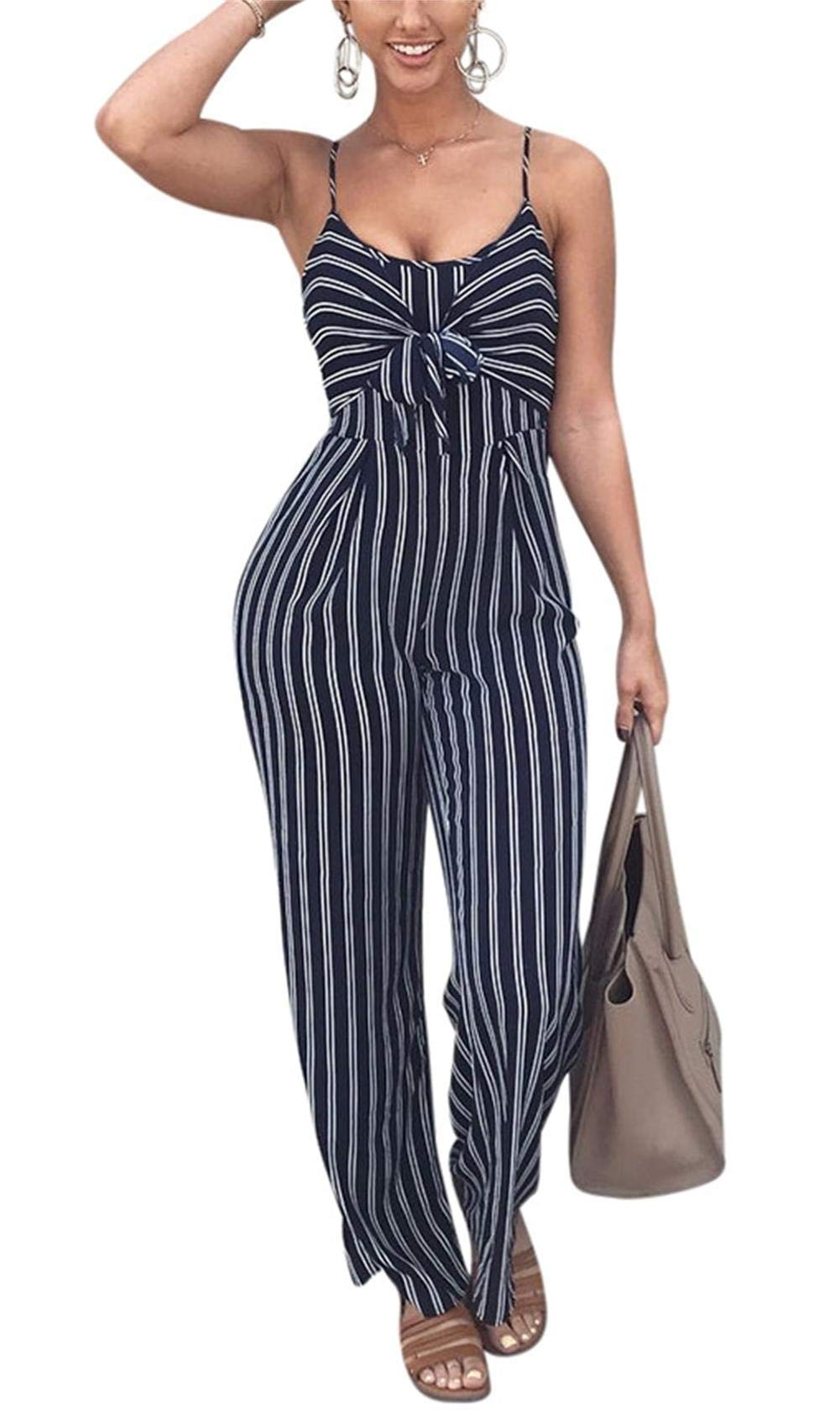 Women Spaghetti Strap Sleeveless Striped Jumpsuits Casual Loose Wide Leg Long Pants One Piece Jumpsuit Romper
